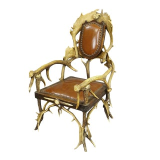 Large Antique Antler Easy Chair Ca. 1900 For Sale