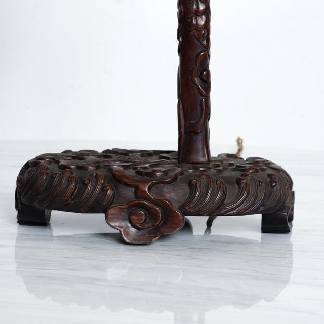 Asian 1920s Antique Chinese Rosewood Dragon Table Lamp Pagoda For Sale - Image 3 of 9