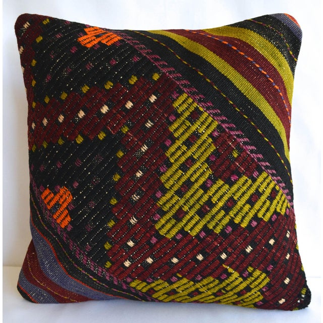 """Hand-Woven Kilim Rug Throw Pillow Turkish Sham Diagonal Cut - 16"""" X 16"""" For Sale In Raleigh - Image 6 of 6"""