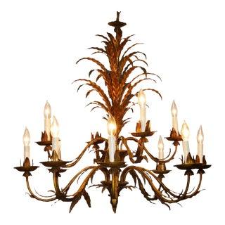 Gilt Metal Twelve-Light Leaf Design Chandelier For Sale