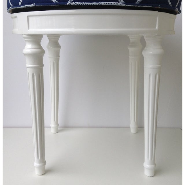 Blue Louis XVI-Style Swivel Vanity Stool For Sale - Image 8 of 11