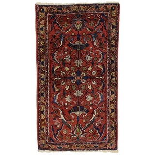 Antique Persian Lilihan Accent Rug with Traditional Style, Entry Foyer Rug