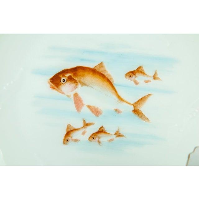Limoges, France Limoges Victorian Era Porcelain with 22k Gold Details & Hand Painted Fish Serving Set of 13 For Sale - Image 4 of 8