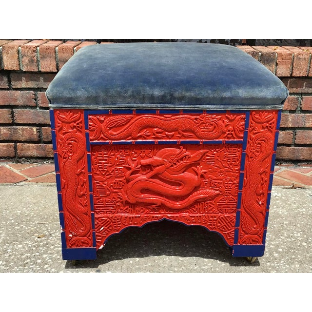 Red Lacquered Asian Bench/Ottoman For Sale - Image 10 of 10