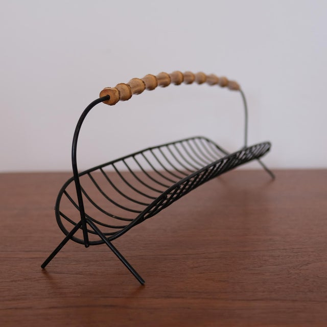 1950s Wire Fruit Basket With Cane Handle, 1950s For Sale - Image 5 of 7
