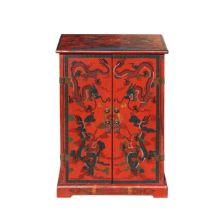 Chinese Distressed Red Dragon Graphic Small Side Table Cabinet For Sale