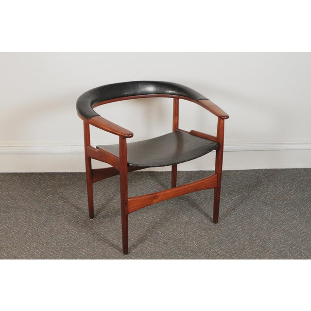 1950s Vintage Arne Hovmand-Olsen for Jutex Teak and Leather Rounded-Back Chair For Sale - Image 12 of 12