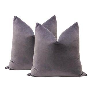 "22"" Smokey Amethyst Velvet Pillows - a Pair For Sale"