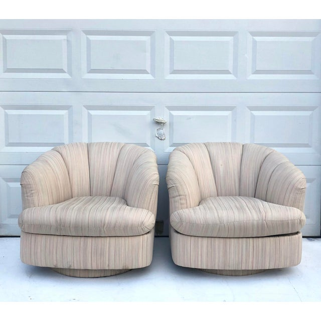 Remarkable Pair Vintage Modern Swivel Club Chairs By Directional Chairish Squirreltailoven Fun Painted Chair Ideas Images Squirreltailovenorg