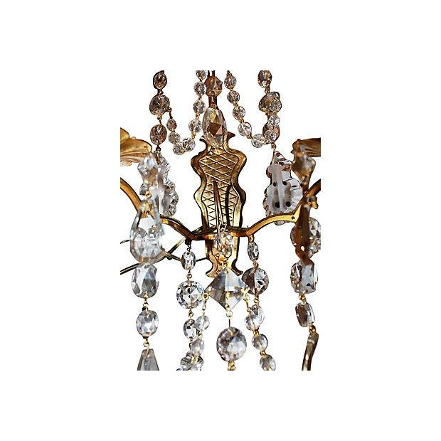 Antique Crystal French Bronze Sconces - A Pair - Image 6 of 6