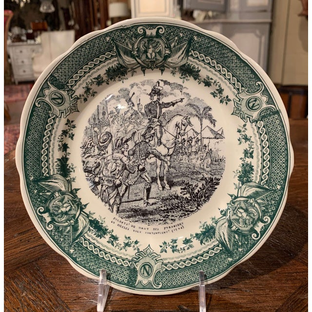 19th Century French Painted Napoleonic Sarreguemines Ceramic Plates-Set of 9 For Sale - Image 9 of 13