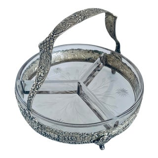 Antique Silver Basket With Divided Glass Candy Dish For Sale