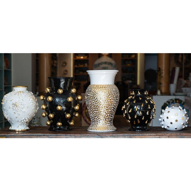 Not Yet Made - Made To Order Cream Round Ceramic Vase with 24 Karat Gold Details, ND Dolfi For Sale - Image 5 of 10
