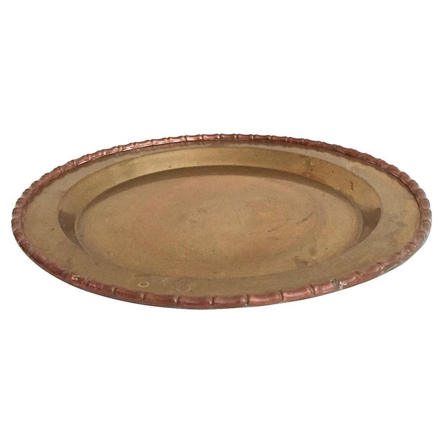 Bamboo-Style Round Brass Tray - Image 3 of 4