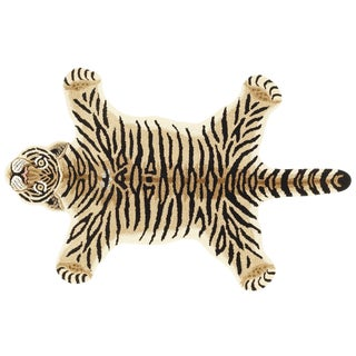 Modern Hand-Tufted Tiger Skin Shape Wool Rug - 2' x 3'