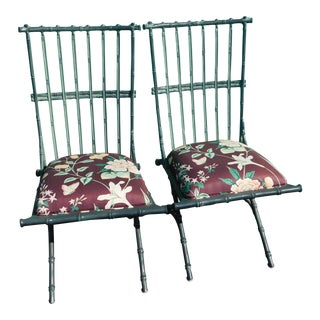 Vintage Metal Faux Bamboo Chairs - A Pair For Sale