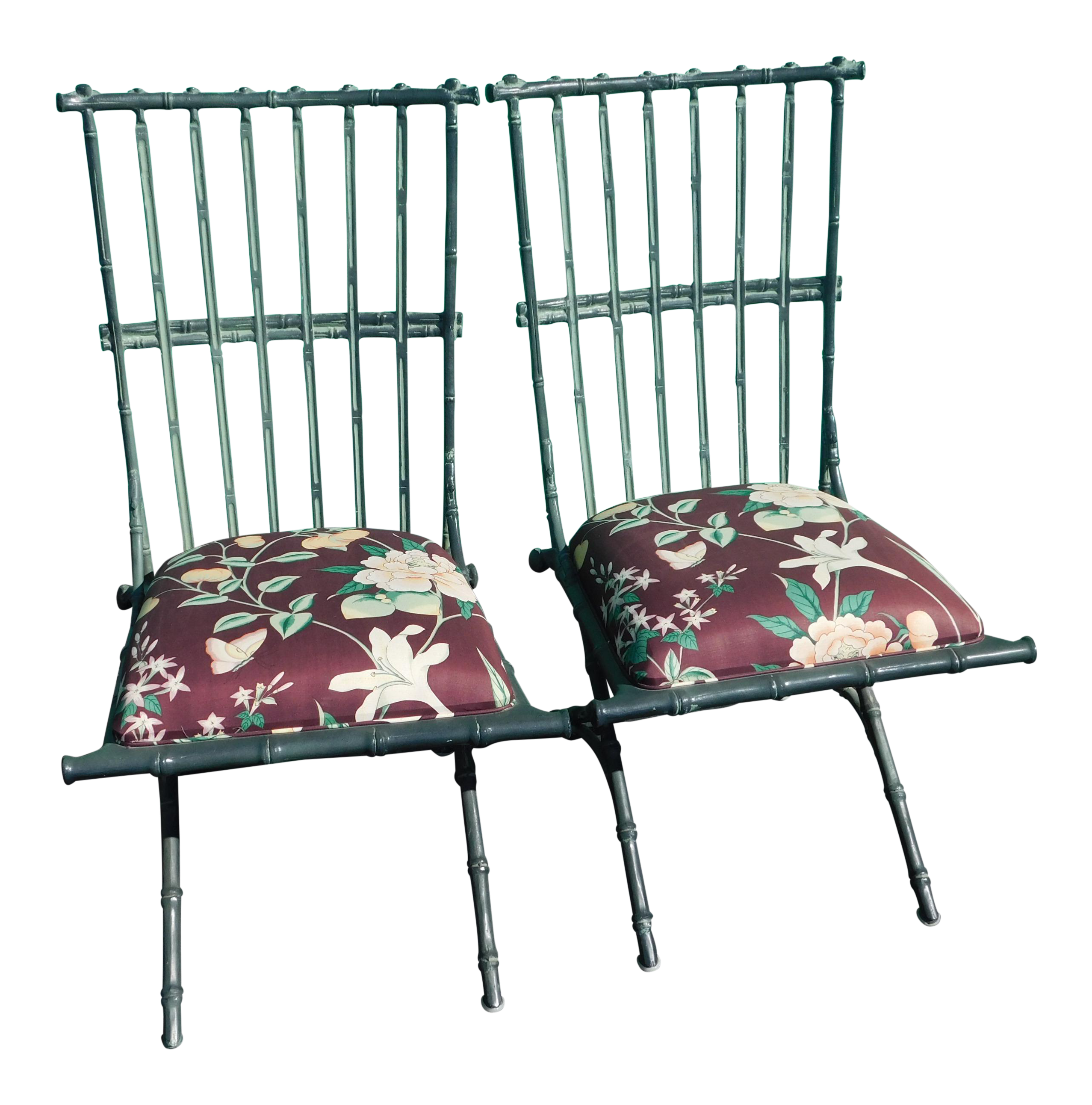 Vintage Metal Faux Bamboo Chairs   A Pair For Sale
