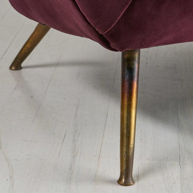 Italian 1960's Curved Loveseat Sofa For Sale - Image 4 of 7