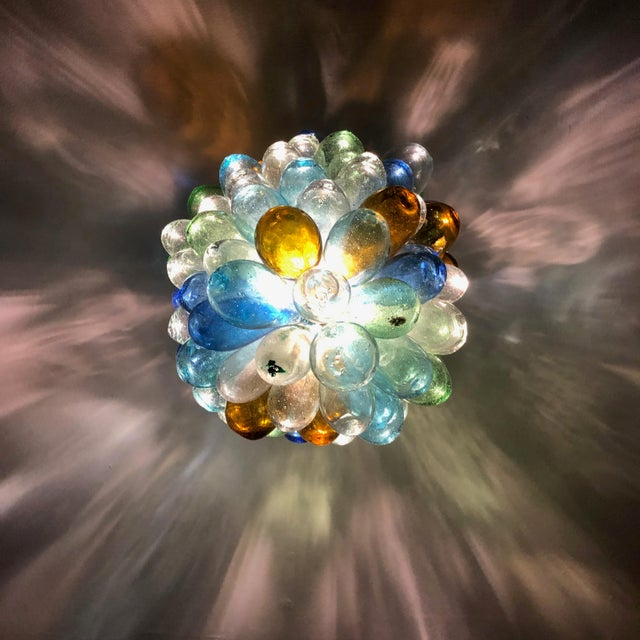 Colorful Balloon Shape Handblown Glass Light Fixture For Sale In Los Angeles - Image 6 of 9