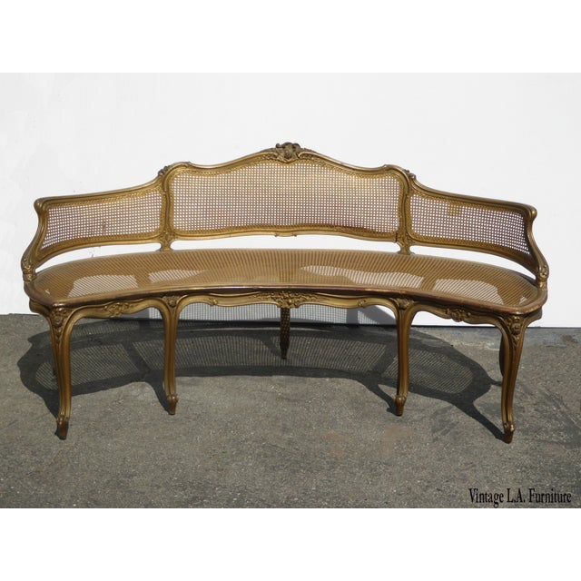 Antique French Provincial Louis XVI Rococo Gold Cane Settee Loveseat For Sale - Image 13 of 13