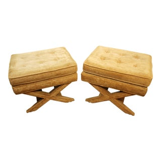 Pair of Mid-Century Regency American of Martinsville X-Base Ottomans For Sale