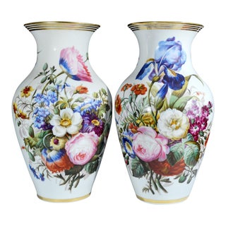 Porcelain Large Botanical Vases - A Pair For Sale