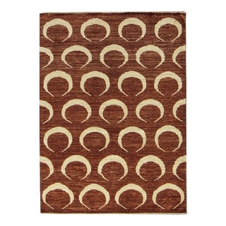 "Contemporary Hand Woven Burnt Orange Rug 4'3"" X 5'10"" For Sale"