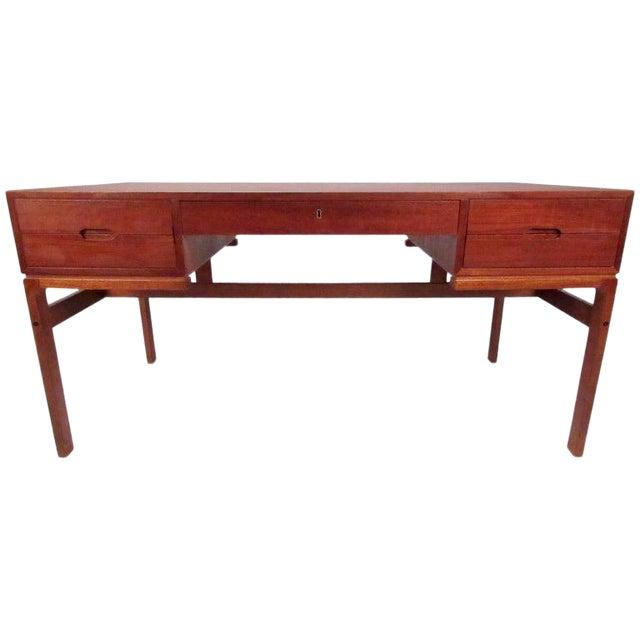Mid-Century Modern Teak Double-Sided Desk For Sale