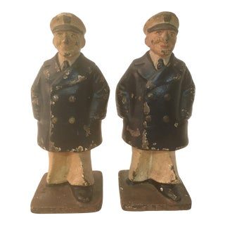 Old Cast Iron Cold Painted Sailor Bookends Navy Peacoat For Sale