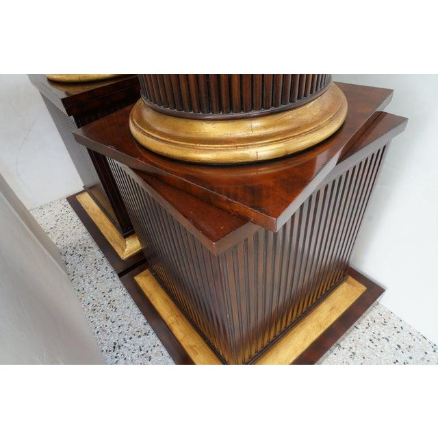 Wood Vintage English Regency Style Cabinets Column High Pedestal Form - a Pair For Sale - Image 7 of 10