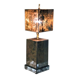 1980s Deco Revival Gold Veined Semi-Transparent Antiqued Mirror and Metal Table Lamp For Sale