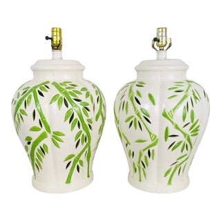 Palm Beach Style Bamboo Ceramic Lamps, a Pair For Sale