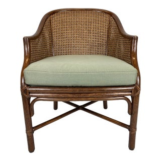 McGuire Double Caned Rattan Armchair For Sale