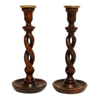 Antique English Oak Twist Candlesticks, a Pair For Sale