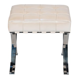 Catalunya Pearl Tufted Leather Steel Stool