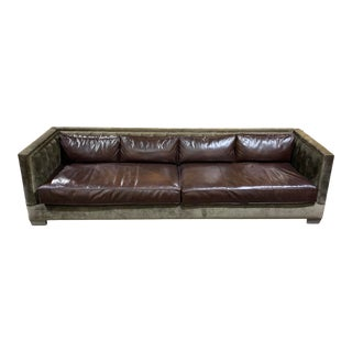 Oxford Custom Tufted Sofa With Leather Cushions For Sale