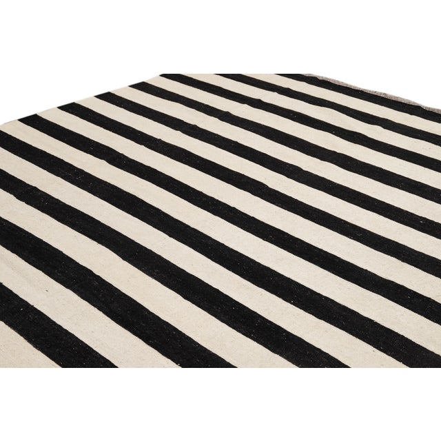Contemporary Black and White Striped Kilim Flat-Weave Wool Rug For Sale - Image 10 of 11