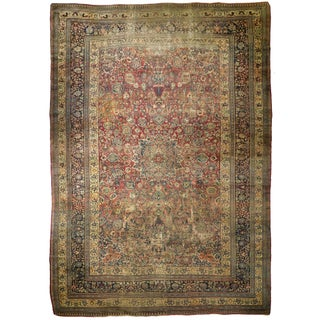 """Distressed Antique Persian Mashad Rug - 11'0"""" x 17'0"""" For Sale"""