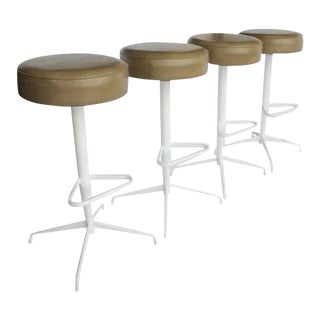 Mid-Century Reupholstered Bar Stools - Set of 4 For Sale