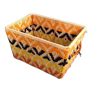 Modern Handwoven Orange and Black Wool Basket