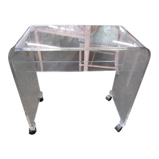 1970s Lucite Waterfall Rolling Table For Sale