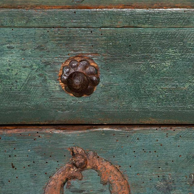 Blue Antique Original Blue Painted Small Trunk Dated 1788 From Sweden For Sale - Image 8 of 13