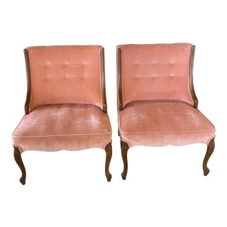 Vintage Pink Velvet French Style Chairs - a Pair For Sale