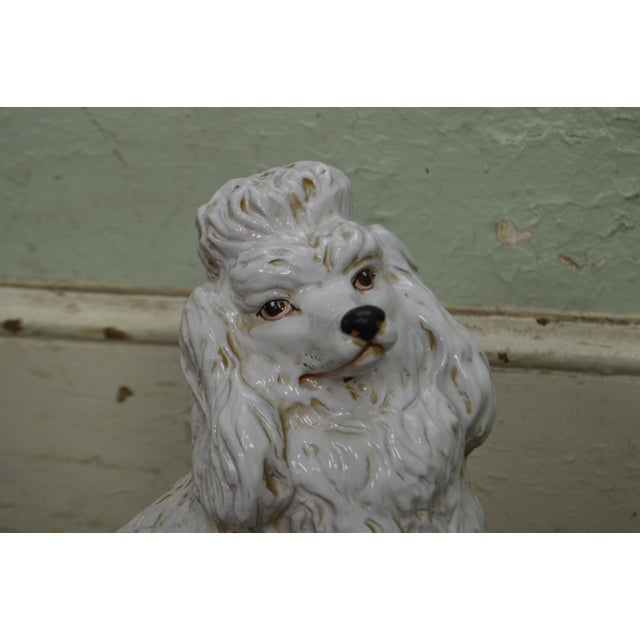 Italian Pottery Vintage White Ceramic Poodle Dog Statue (A) For Sale In Philadelphia - Image 6 of 13
