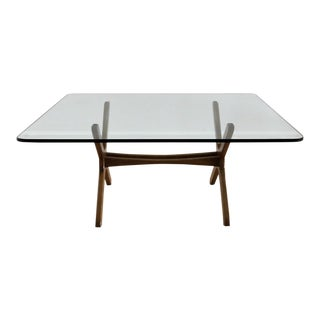 1970s Danish Modern Teak and Beveled Glass Coffee Table For Sale