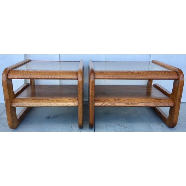Geometric Oak & Glass Side Tables - Image 6 of 8