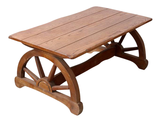 Superbe Mid Century Wagon Wheel Table