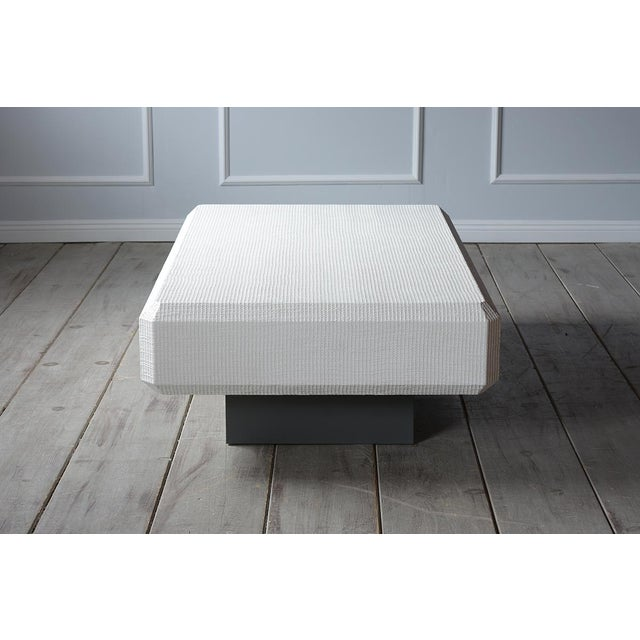 Karl Springer Floating Grass Cloth Coffee Table For Sale In Los Angeles - Image 6 of 7