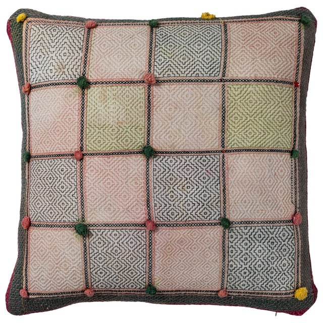 Mid 20th Century Swat Valley Embroidery Pillow For Sale - Image 5 of 5