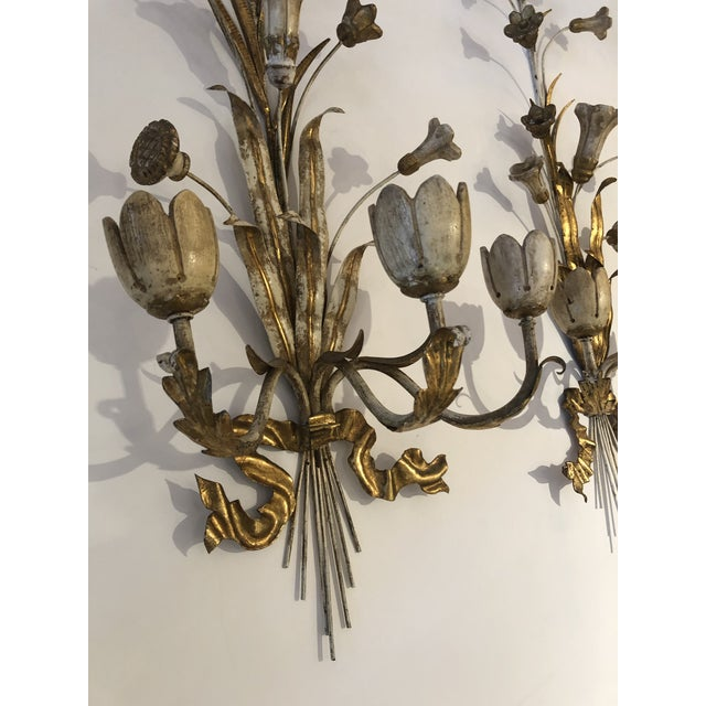 Metal Gold Gilt Iron Carved Wood French Tulip Motife Candle Sconces -Pair For Sale - Image 7 of 13
